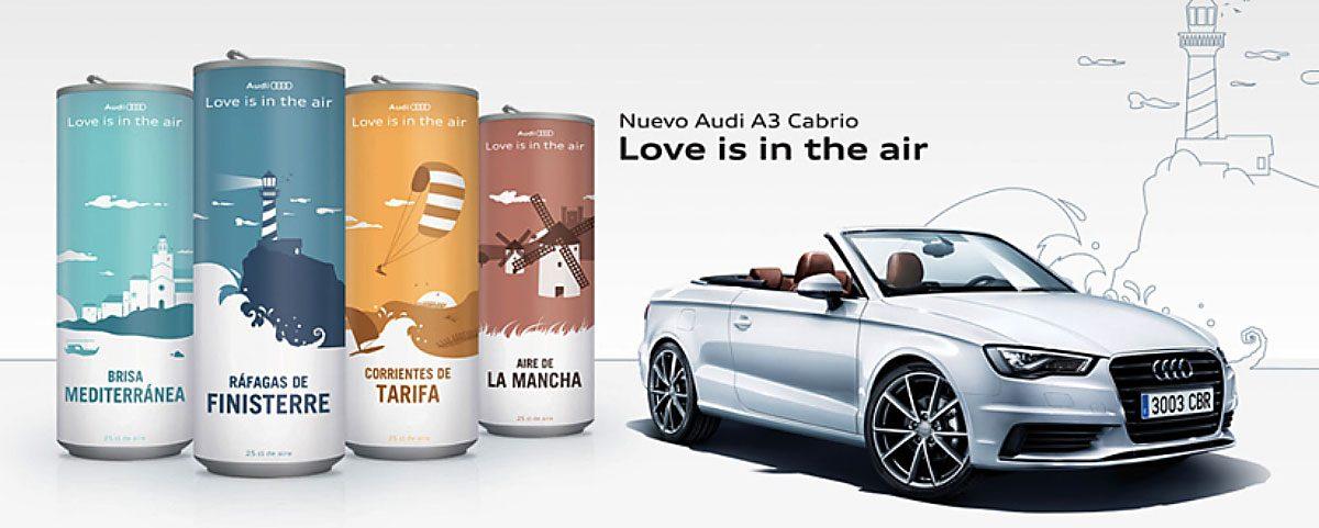 Packs con aire aromatizado para AUDI A3 Cabrio, con expendedor en los concesionarios