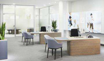 La imagen de marca de las oficinas bancarias Deutsche Bank